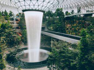 Rain Vortex indoor waterfall at Singapore's Jewel Changi international airport.