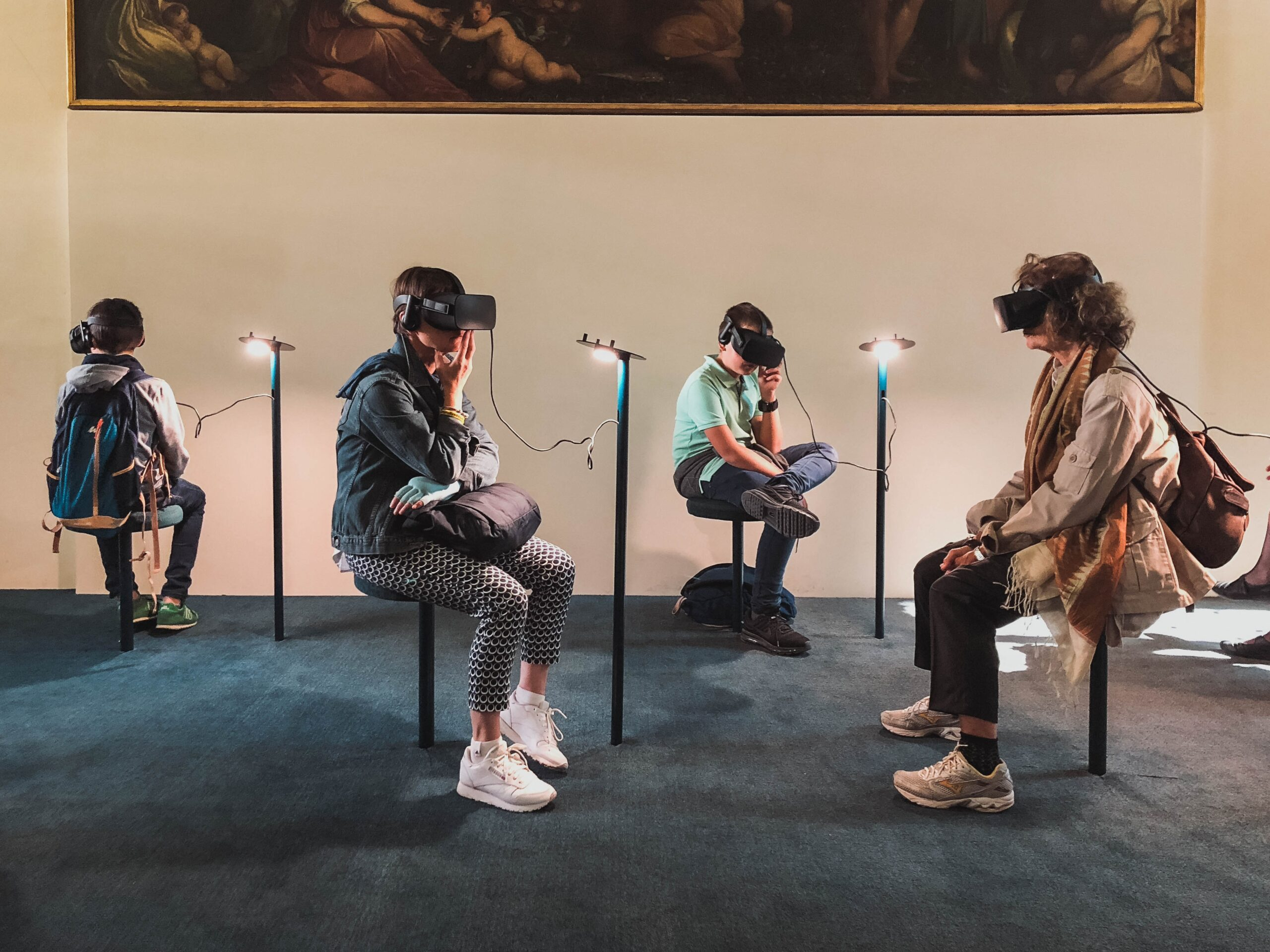 4 people using VR technology